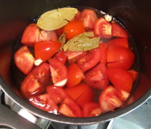 Roasted Capsicum and Tomato Soup -Boil tomatoes in water