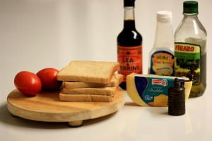 Grilled cheese sandwich -ingredients
