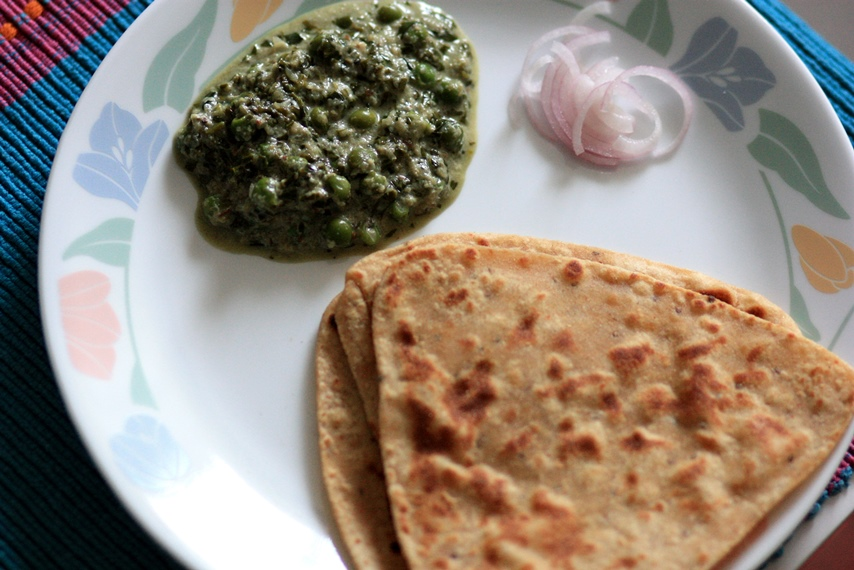 methi malai matar, fenugreek gravy, fenugreek cheese and peas gravy,
