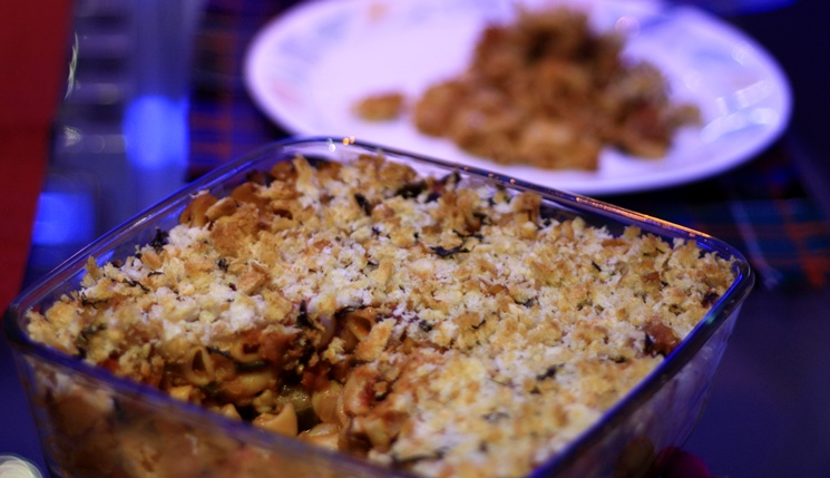 vegetable pasta bake, baked pasta, vegetarian pasta